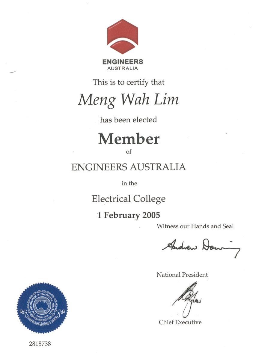 Member of Engineer Australia