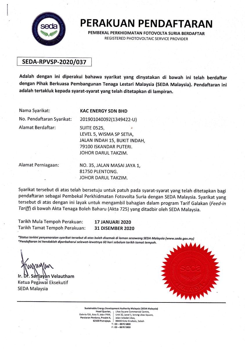SEDA Certified Solar PV Service Provider